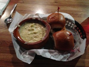 Minis and Broccoli Cheese Soup @ Hamburger Mary's Cheap Lunch